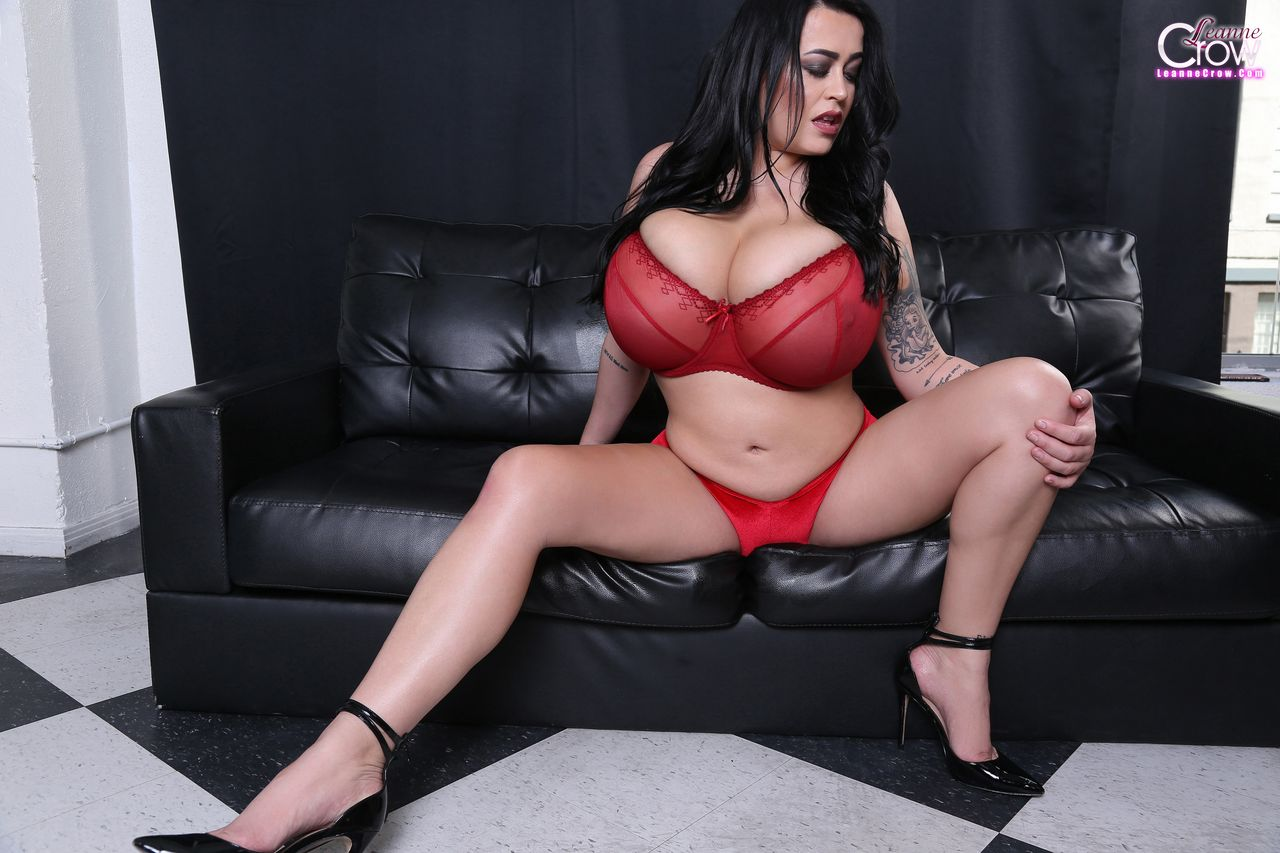 Leanne Crow adult gallery Red Sheer Bra Set 1
